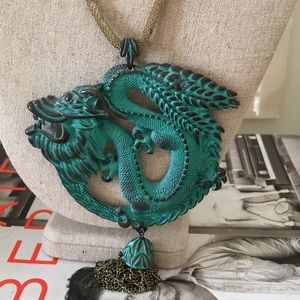 Large dragon pendant necklace with tassel
